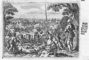 Belagerung der Stadt Magdeburg - Magdeburg Stadt Ansicht Belagerung siege Antike antiquity Kupferstich antique
