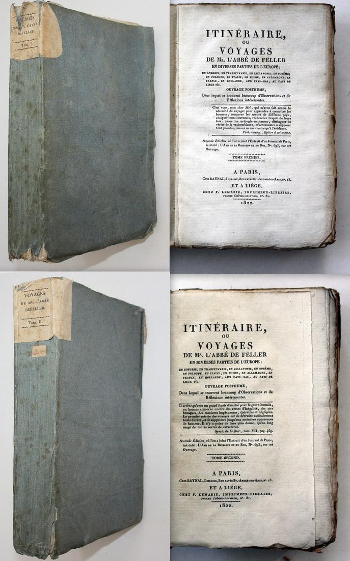 Itineraire ou Voyages de Mr. l'Abbe Defeller. Tome Premier & Tome Second. 2 Bände.