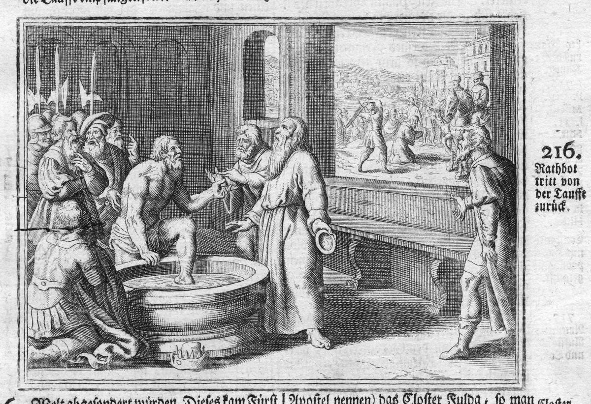 Rathbot tritt von der Tauffe zurück - Taufe baptism Rathbot Rücktritt resignation Antike antiquity Kupferstich