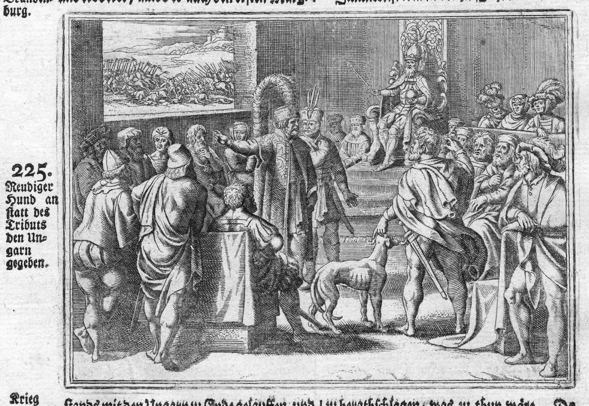 Reudiger Hund an statt des Tributs den Ungarn gegeben - Ungarn Hungary Hund Tribut tribute Antike antiquity Ku