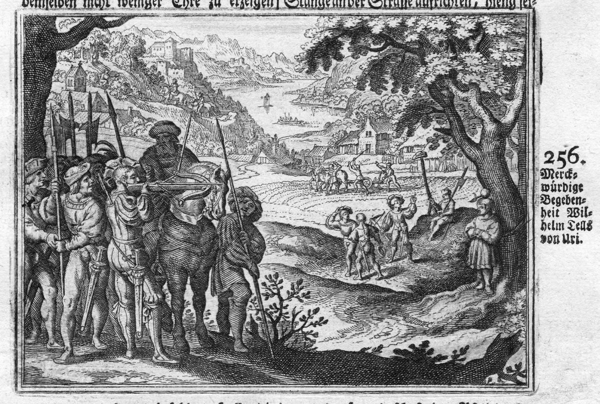 Merckwürdige Begebenheit Wilhelm Tells von Uri - Wilhelm Tell Schweiz Uri Soldaten soldiers  Antike antiquity