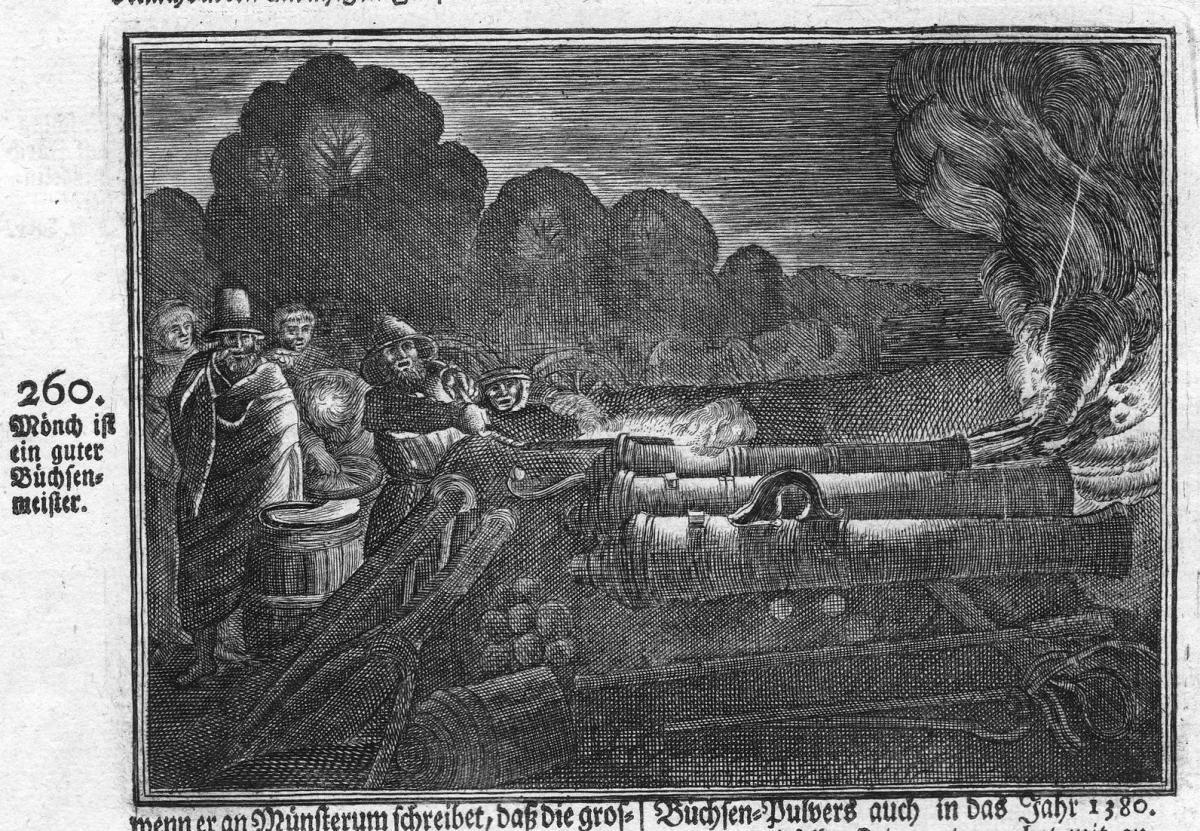 Mönch ist ein guter Buchsenmeister - Philipp Mönch Büchsenmeister master gunner Antike antiquity Kupferstich a