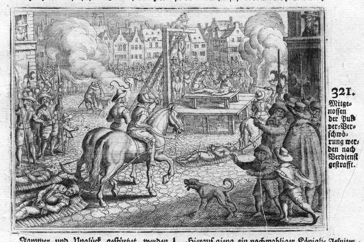 Mitgenossen der Pulver-Verschwörung werden nach Verdienst gestrafft - Gunpowder Plot Pulververschwörung Antike