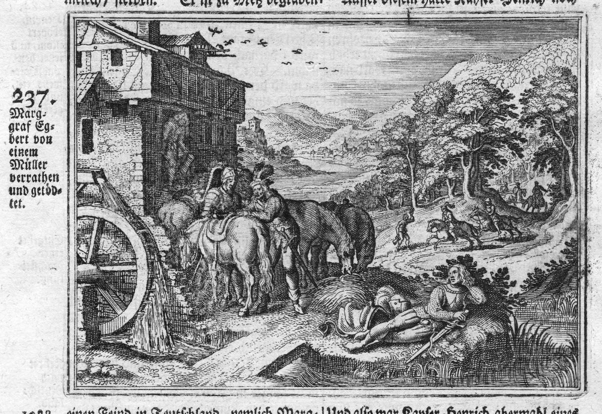 Marggraf Egbert von einem Müller verrathen und getödtet - Ekbert II. Meißen Müller Mord murder Antike antiquit