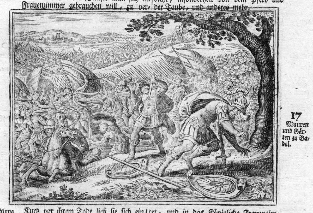 Mauren und Gärten zu Babel - Babylon Mauer wall Garten garden Antike antiquity Kupferstich antique print