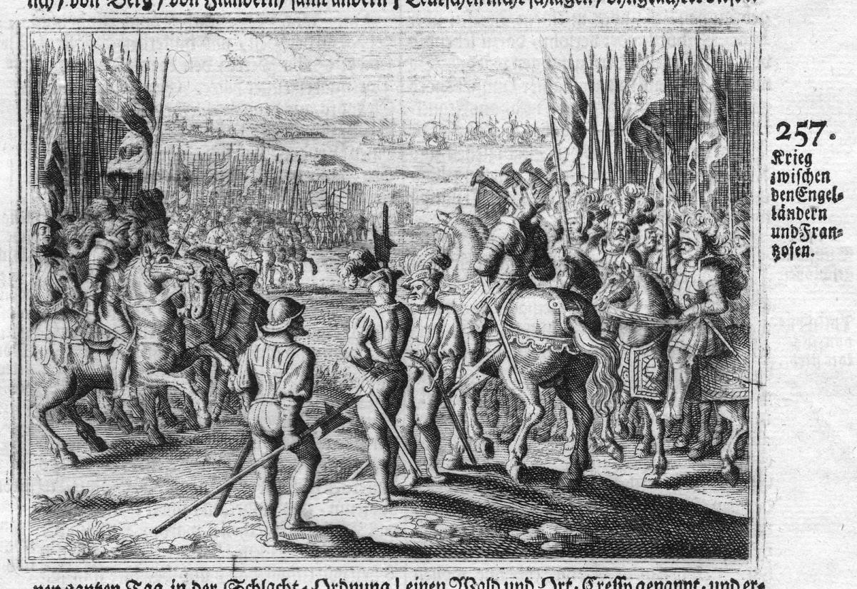 Krieg zwischen den Engelländern und Franzosen - British French battle Schlacht Krieg war Antike antiquity Kupf