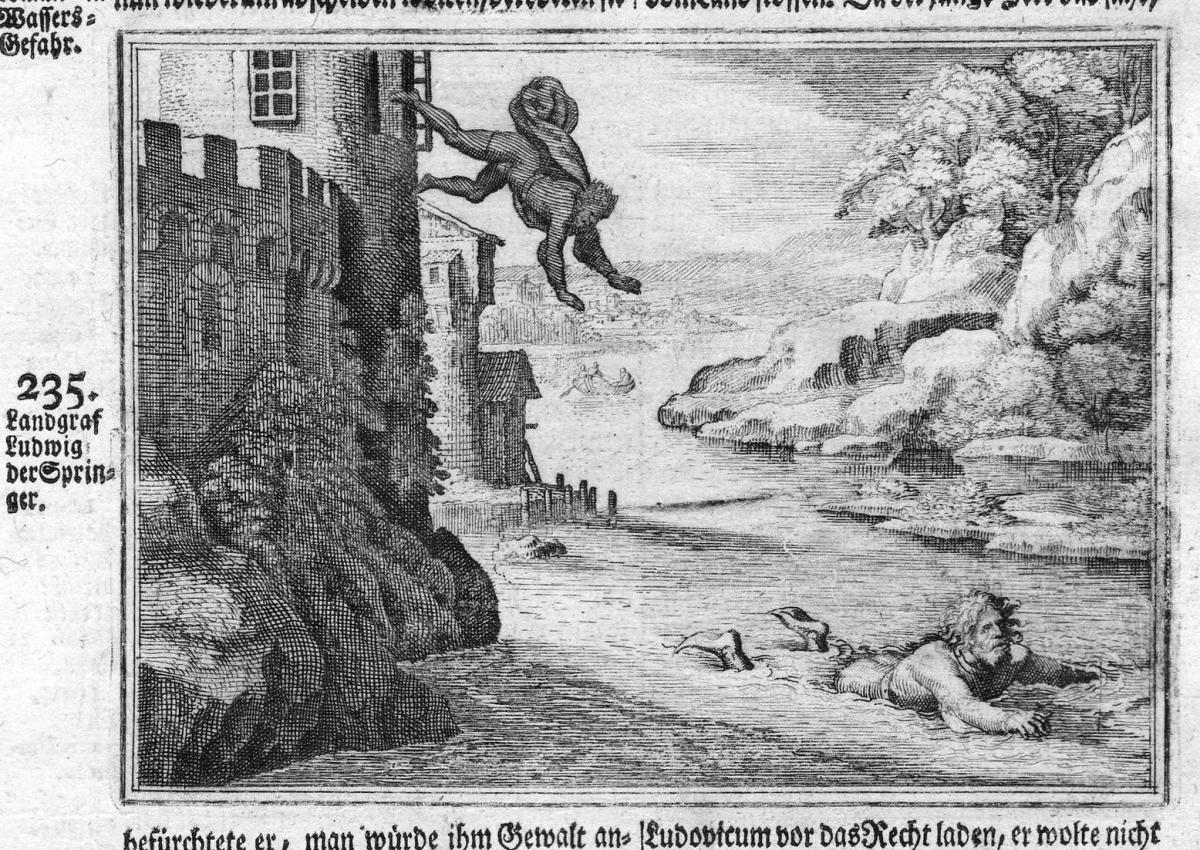 Landgraf Ludwig der Springer - Ludwig von Schauenburg Springer Thüringen Antike antiquity Kupferstich antique