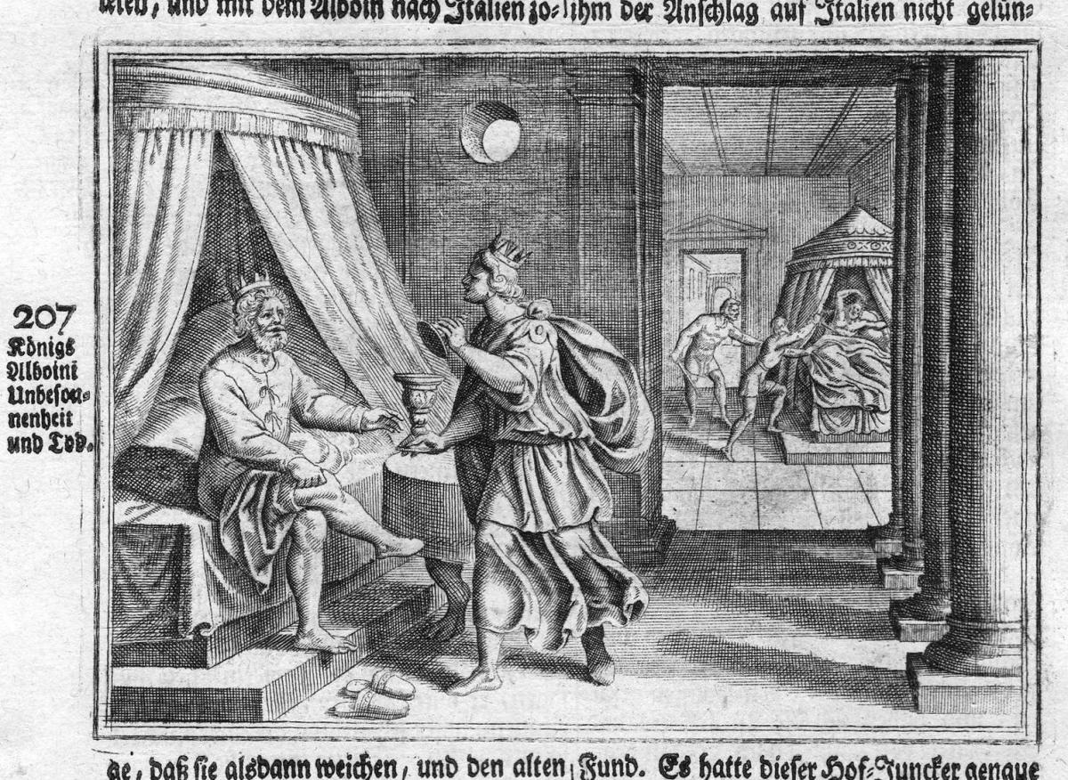 Königs Allboini Unbesonnenheit und Tod - Alboin Alboino Tod decesso incisione Antike antiquity Kupferstich ant