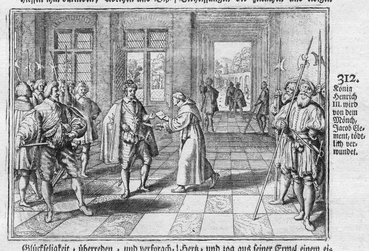 König Heinrich III wird von dem Mönch Jacob Clement tödtlich verwundet - Jacques Clemens Henri III Verwundung