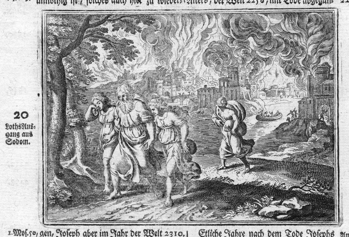 Loths Ausgang aus Sodom - Lot Sodom Flucht escape Bibel biblical Antike antiquity Kupferstich antique print