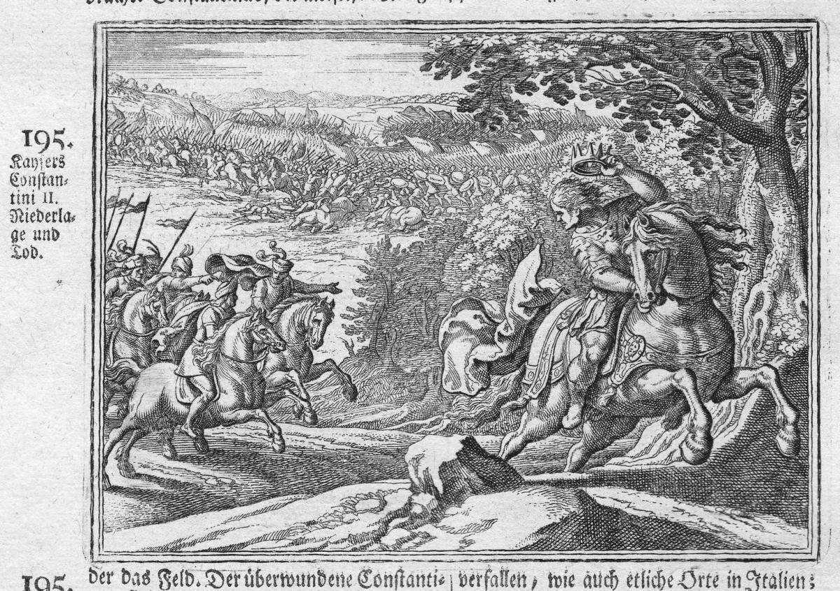 Kaysers Constanini II Niederlage und Tod - Konstantin II. Constantine Tod death Antike antiquity Kupferstich a