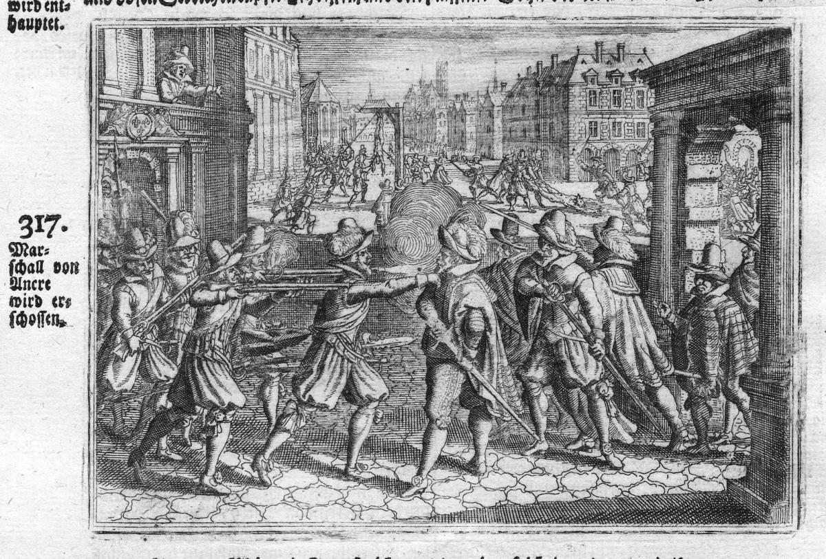Marschall von Ancre wird erschossen - Concino Concini Mord murder Erschießung shooting Antike antiquity Kupfer