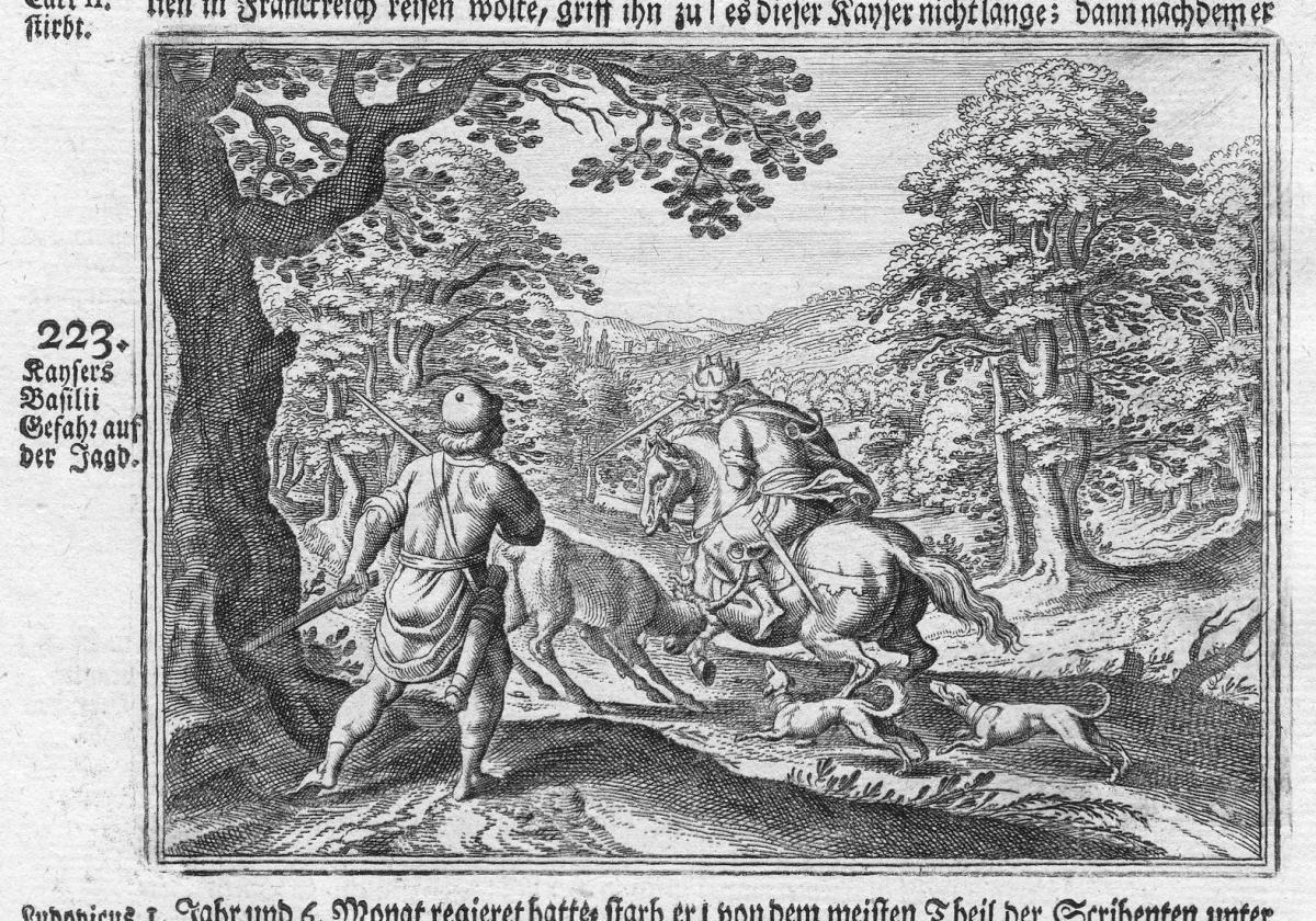 Kaysers Basilii Gefahr auf der Jagd - Kaiser Basileios Jagd hunting emperor Antike antiquity Kupferstich antiq
