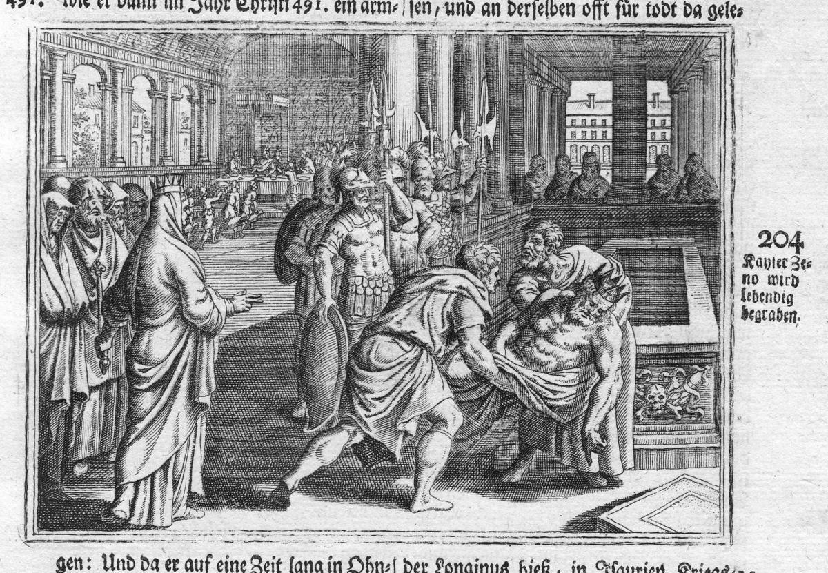 Kayser Zeno wird lebendig begraben - Zenon Kaiser Mord murder emperor Beerdigung funeral Antike antiquity Kupf