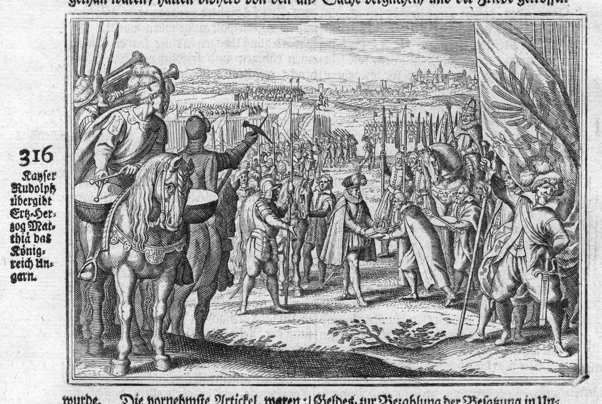 Kayser Rudolph übergibt Erz-Herzog Matthias das Königreich Ungarn - Rudolf Matthias Ungarn Hungary Übergebung