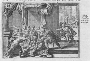 Domitianus wird ermordet - Domitian Ermordung murder Mord Antike antiquity Kupferstich antique print