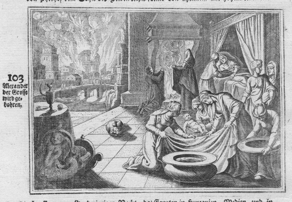 Alexander der Grosse wird gebohren - Alexander der Große the Great Geburt birth Antike antiquity Kupferstich a