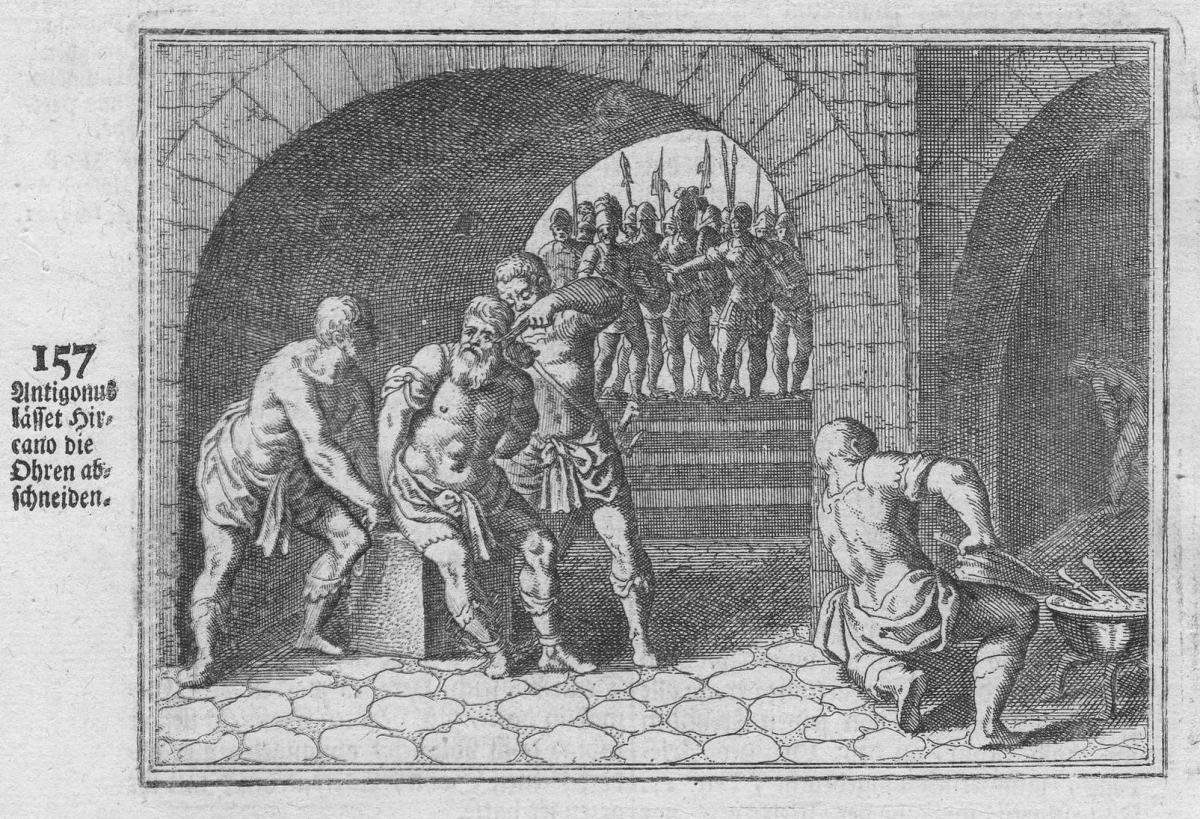 Antigonus lasset Hicano die Ohren abschneiden - Antigonos Hyrkanos punishmend Bestrafung Antike antiquity Kupf