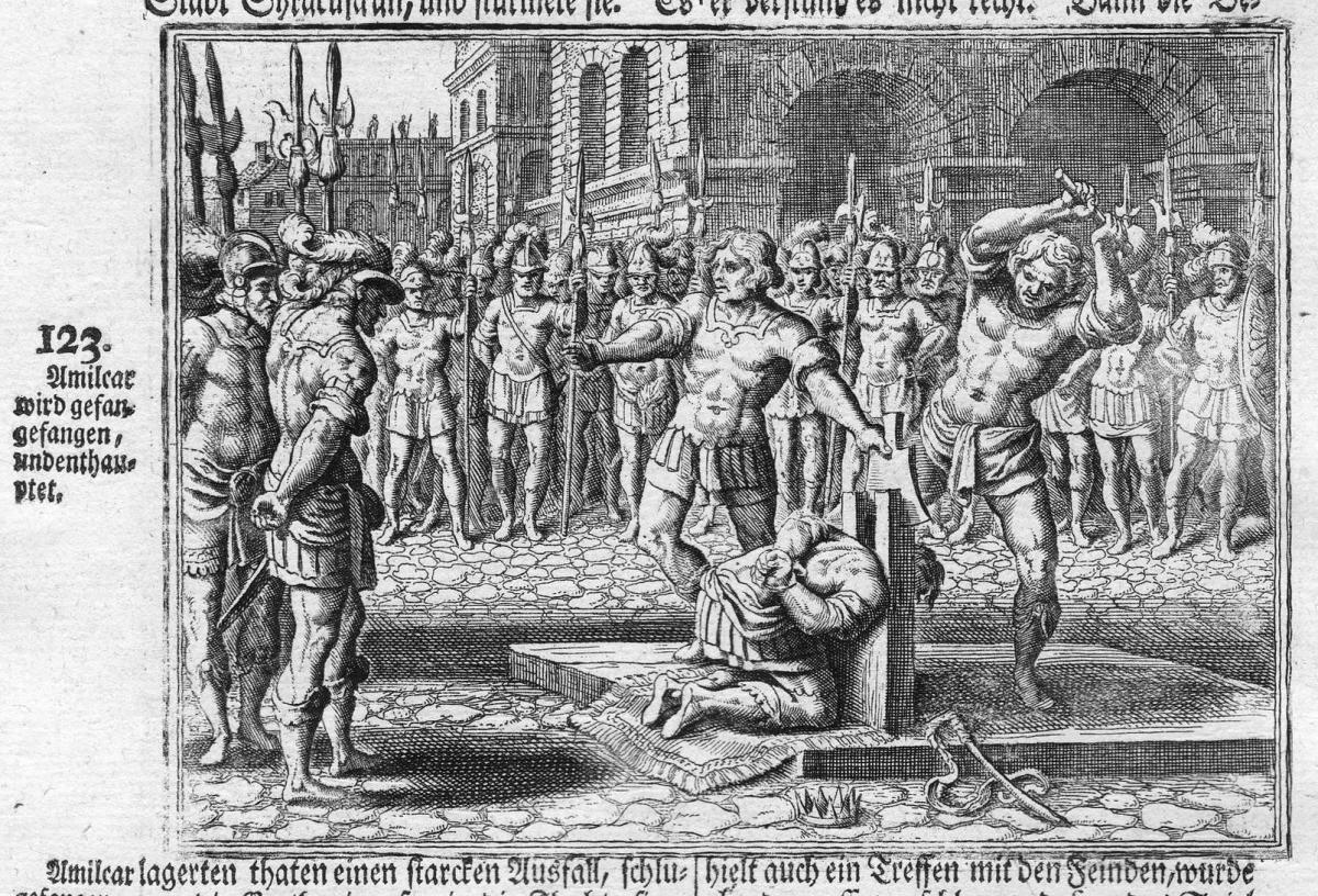 Amilcar wird gefangefangen, und enthauptet - Enthauptung beheading Amilcar punishment Antike antiquity Kupfers