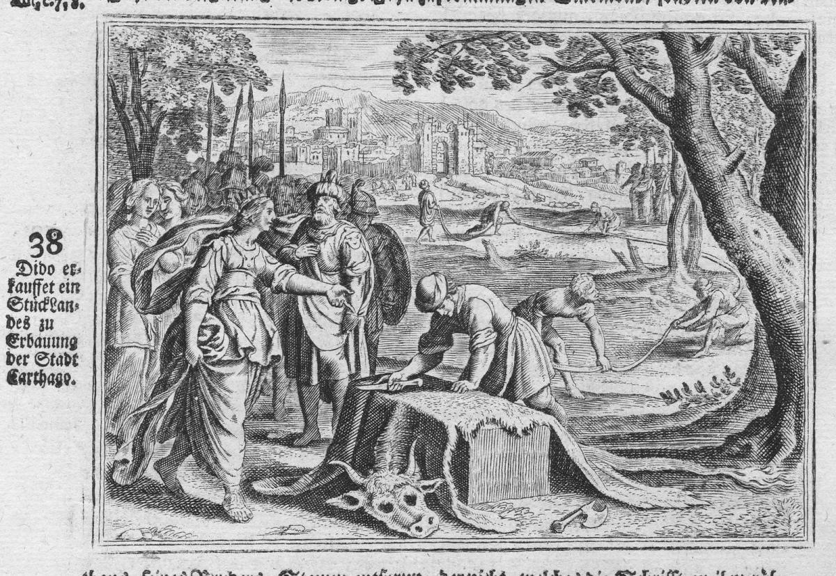 Dido erkauffet ein Stück Landes zu Erbauung der Stadt Carthago - Dido Kauf purchase Karthago Carthage Tunisia