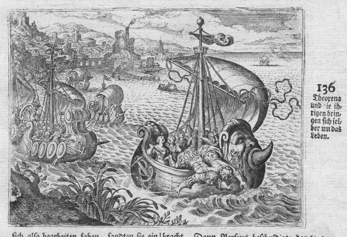 Theoxena und die ihrigen bringen sich selber um das Leben - Theoxena Selbstmord suicide Mord murder Antike ant