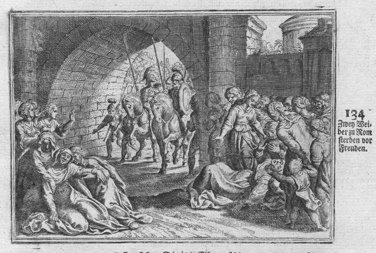 Zwey Weiber zu Rom sterben vor Freuden - Rome Roma Frauen women Tod death incisione Antike antiquity Kupfersti