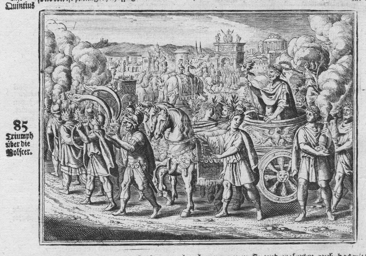 Triumph über die Volscer - Titus Quinctius Pennus Cincinnatus Triumph Antike antiquity Kupferstich antique pri