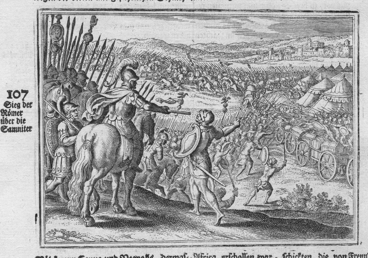 Sieg der Römer über die Samniter - Samniten Krieg Samnite war Romans Römer Antike antiquity Kupferstich antiqu