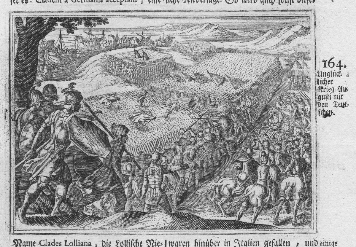 Unglücklicher Krieg Augusti mit den Teutschen - Krieg war Schlacht battle Deutschland Augusti Antike antiquity