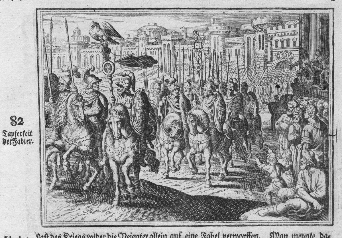 Tapferkeit der Fabier - Fidenae Tapferkeit fortitude Reiter antiquity Kupferstich antique print