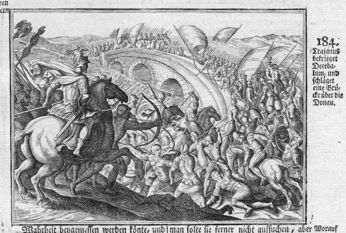 Trajanus bekrieget Decebalum und Schläget eine Brücke über die Donau - Trajan Decebalus Danube Schlacht battle