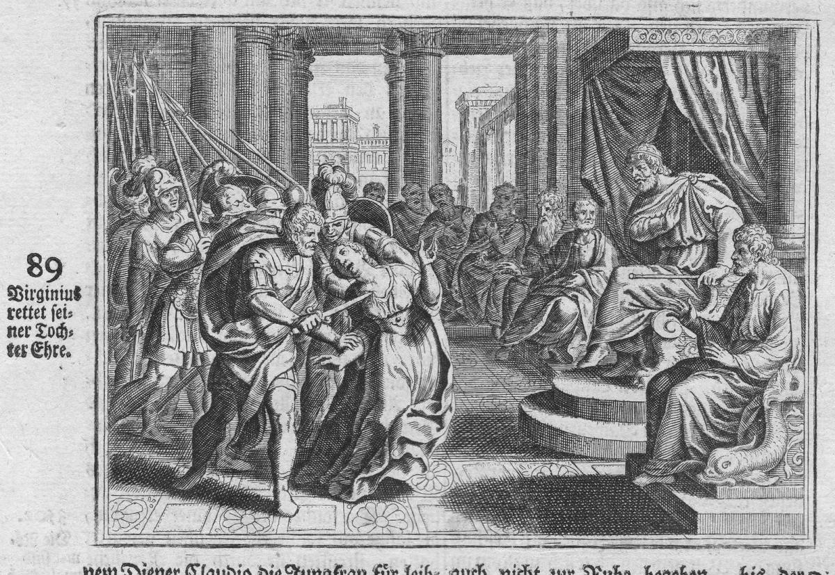 Virginius rettet seiner Tochter Ehre - Virginius Verginia Greece Griechenland Antike antiquity Kupferstich ant