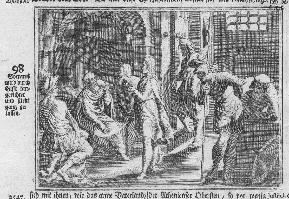 Socrates wird durch Gifft hingerichtet und stirbt gantz gelassen - Sokrates Socrates Tod death Gift poison Ant