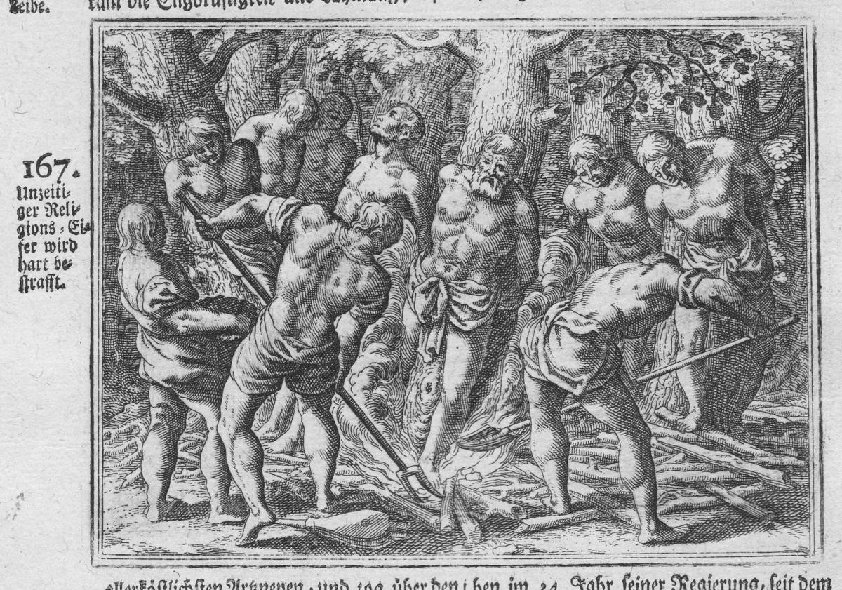 Unzeitiger Religions-Eifer wird hart bestrafft - Religion Bestrafung punishment Antike antiquity Kupferstich a