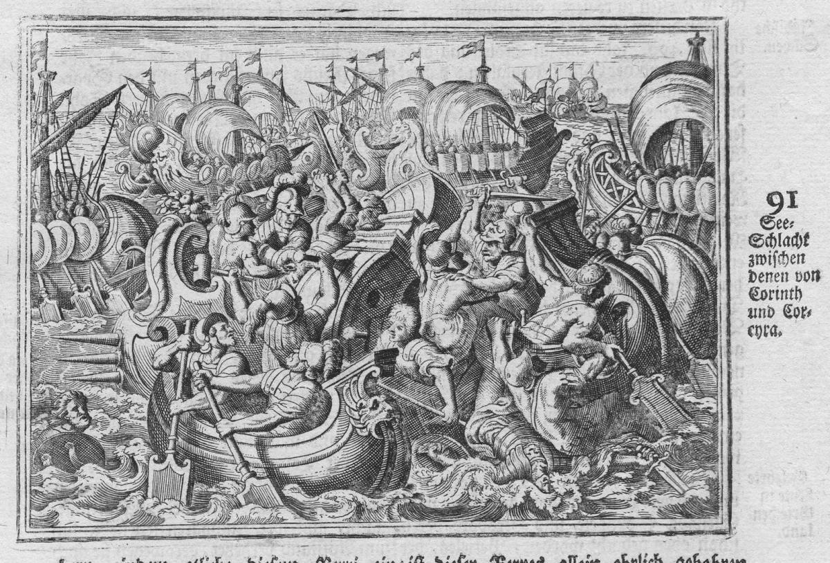 See-Schlacht zwischen denen von Corinth und Corcyra - Korinth Corinth See Schlacht sea battle Antike antiquity