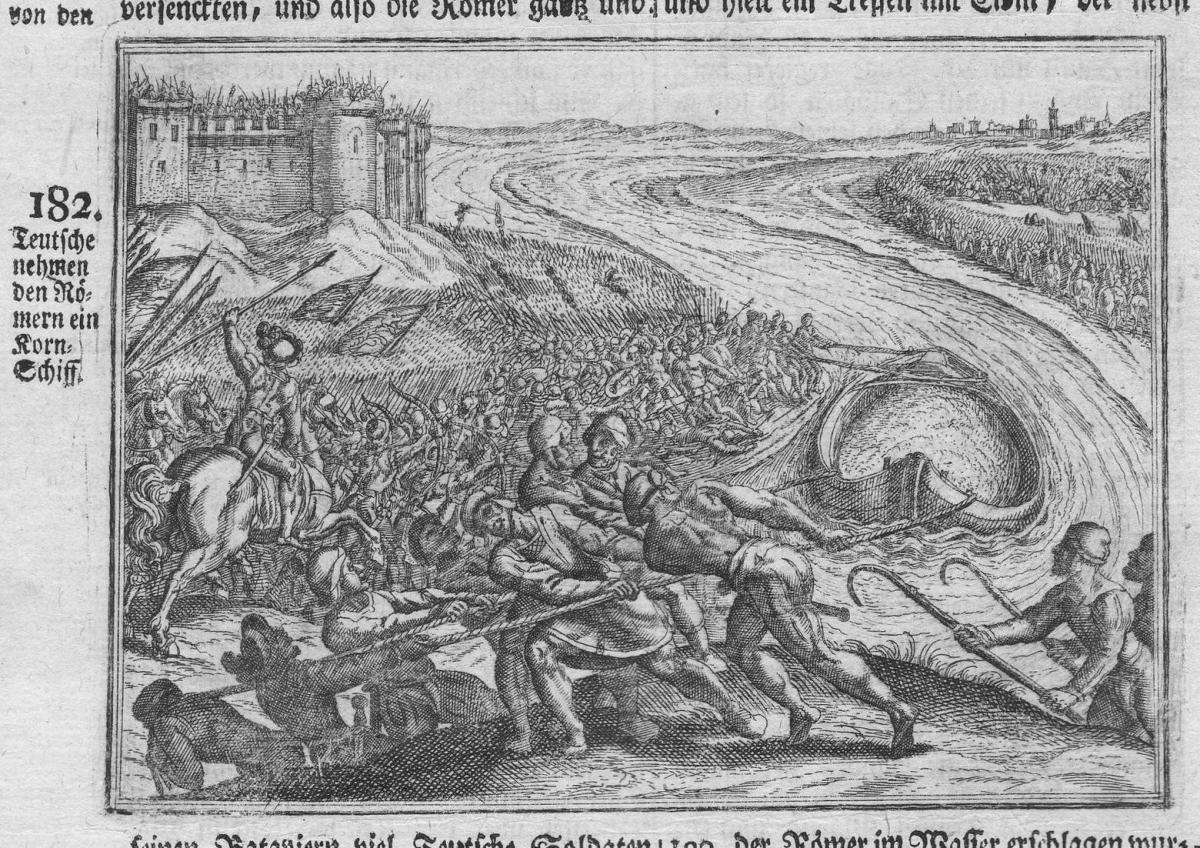 Teutsche nehmen den Römern ein Korn-Schiff - Romans Germans Deutsche Römer Schlacht battle Antike antiquity Ku