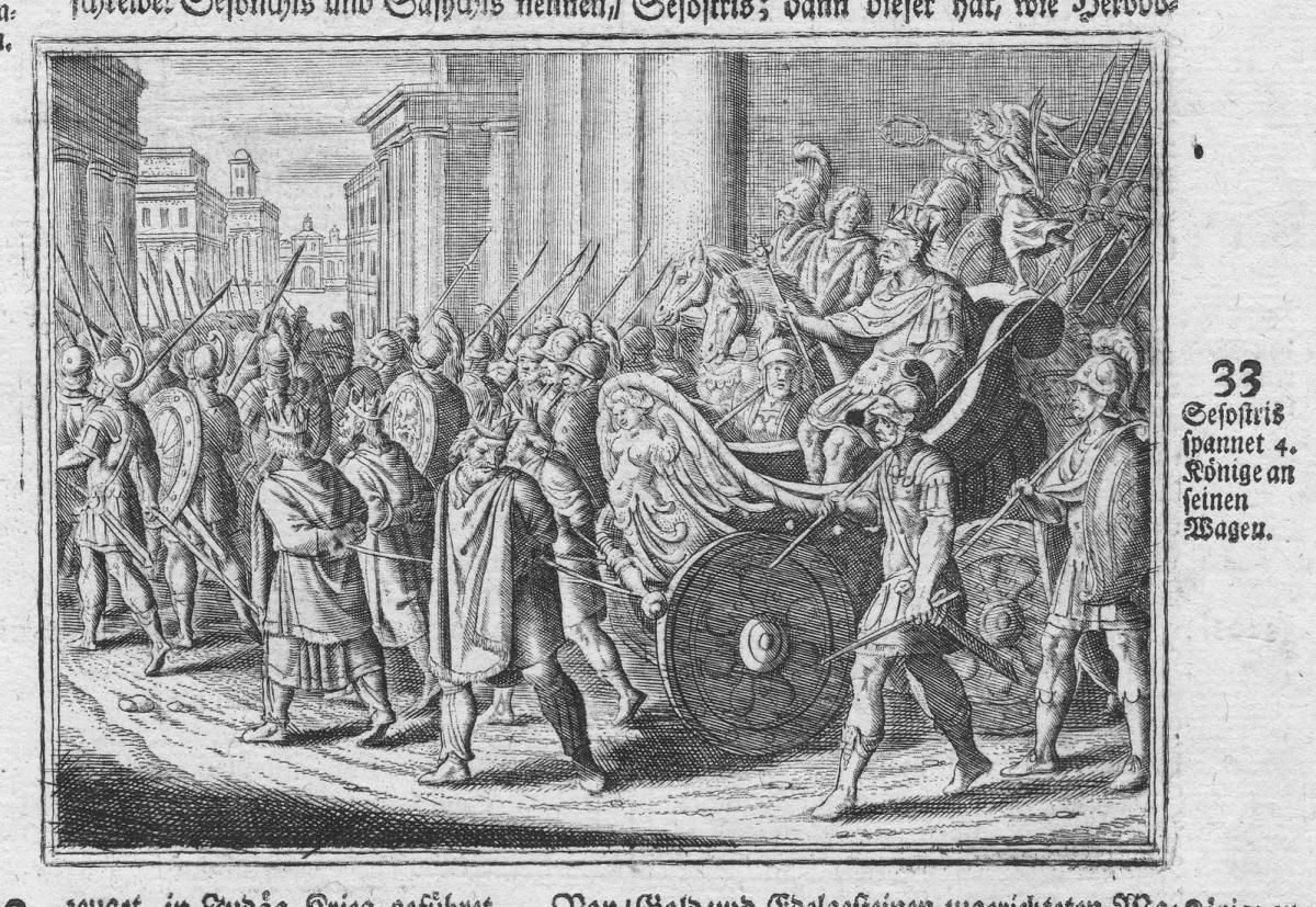 Sesostris spannet 4 Könige an seinen Wagen - Sesostris Könige king Ägypten Egypt Antike antiquity Kupferstich