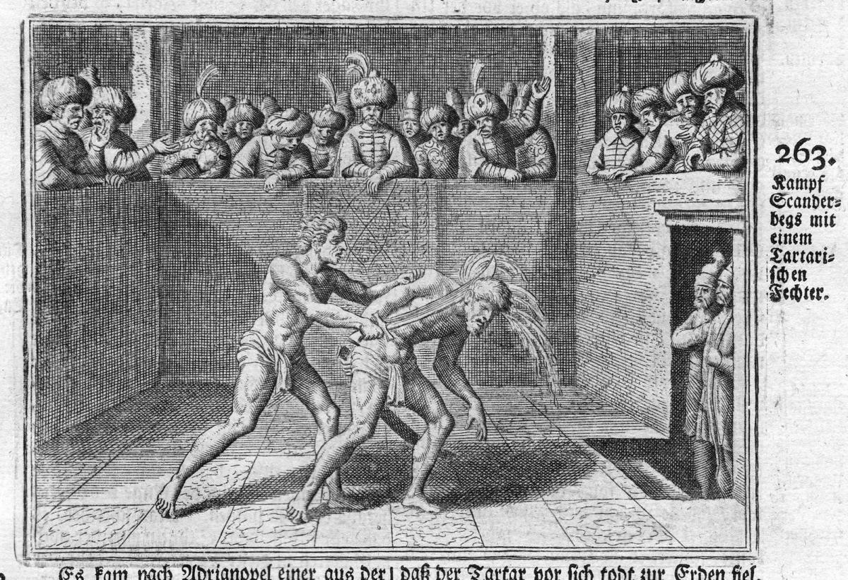 Kampf Scanderbegs mit einem Tartarischen Fechter - Skanderbeg George Castriot Ottoman Empire Kampf Antike anti
