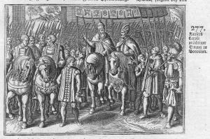 Kaysers Caroli prächtiger Einzug zu Bononien - Karl Bologna Einzug entry Kaiser emperor Carl Antike antiquity