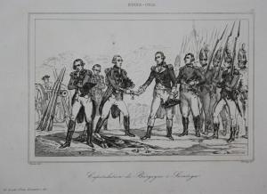 Capitulation de Burgoyne a Saratoga - Capitulation Kapitulation Burgoyne Saratoga Stahlstich steel engraving a