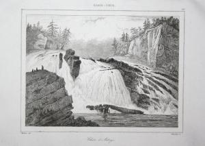 Chute de Adley's - Adley's Falls waterfall Wasserfall Hudson Amerika America USA Ansicht view Stahlstich steel