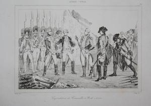 Capitulation de Cornwallis a York town - Capitulation Cornwallis York Kapitulation Cornwallis Stahlstich steel