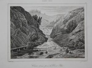 Chute d'Eau pres le Mont Ida - waterfall Wasserfall Mount Ida Amerika America USA US Ansicht view Stahlstich s