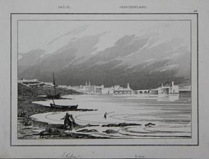 Sidon - Sidonia Saida Lebanon Greece Griechenland Ansicht view Stahlstich steel engraving antique print