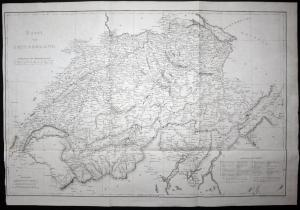 Kaart van Zwitserland - Karte map carte Schweiz Switzerland Suisse Svizzera Stahlstich steel engraving gravure