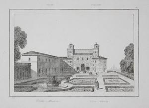 Villa Medici - Villa Medici Rom Rome Roma Italia Italien Italy Ansicht view Stahlstich steel engraving incisio