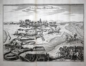 Prospect der Vestung und Belägerung Philipsburg - Festung Philippsburg Rhein Belagerung Ansicht Plan Kupfersti
