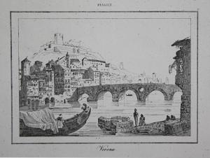 Verona - Verona Italia Italien Italy Ansicht view Stahlstich steel engraving incisione antique print