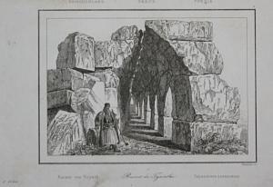 Tyrinthe - Tiryns Greece Griechenland Ansicht view Stahlstich steel engraving antique print