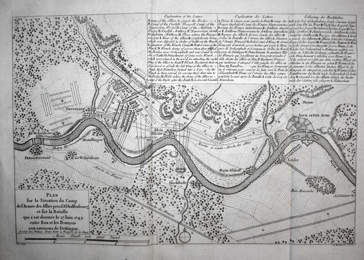 Schlacht bei Dettingen, anno 1743, Theatrum Europaeum 1750 0